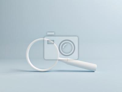Fototapeta White Magnify on Blue Background, Copy Space, 3d render, 3d illustration