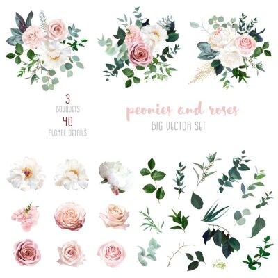 Fototapeta White peonies, blush and dusty pink roses, blooming freesia, eucalyptus, salal, pampas grass