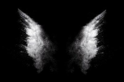 Fototapeta White powder explosion on black background. Colored cloud. Colorful dust explode. Paint Holi.