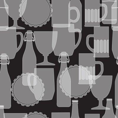 Fototapeta White silhouette of beer bottle and glass on black background, s