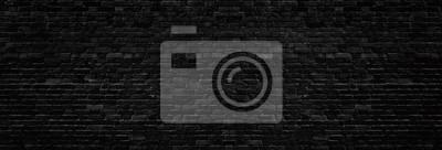 Fototapeta Wide old black shabby brick wall texture. Dark masonry panorama. Brickwork panoramic grunge background