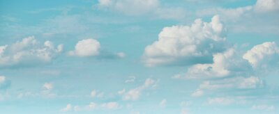 Fototapeta wide web banner with beautiful bright blue sky with fluffy clouds for any text