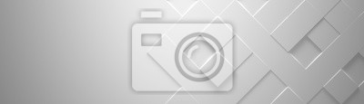 Fototapeta Wide White Geometric Background With Copy Space (Website Head) 3d Illustration