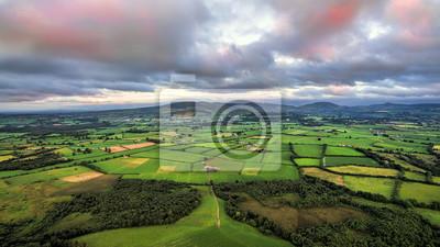 Fototapeta Widok irlandzkiej sceny wiejskiej w słoneczny letni dzień w polach Tipperary. Irlandia