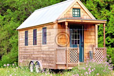 Fototapeta Widok maleńkim domu z werandą