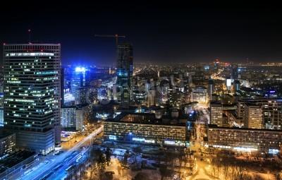 Fototapeta Widok na centrum Warszawy w nocy