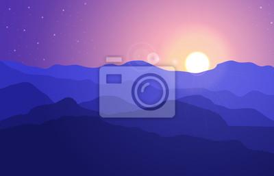 Widok na górski krajobraz z wzgórzami pod fioletowym niebie z słońcem i gwiazdami. Ilustracji wektorowych.