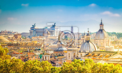 Fototapeta widok na panoramę miasta Rzym w dzień, Włochy, retro stonowanych