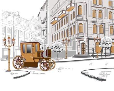 Widok ulicy z samochodu retro na starym mieście