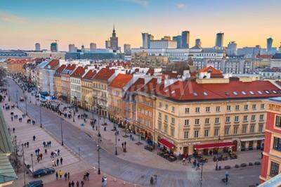 Fototapeta Widok Warszawy o zachodzie słońca