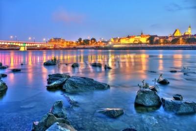 Fototapeta Widok Warszawy w nocy z rzeki high dynamic range HDR