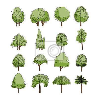 Fototapeta Widok z boku, zestaw elementów zielonych drzewek graficznych symbol konspektu dla rysunku architektury i krajobrazu. Naturalna ikona. Ilustracji wektorowych