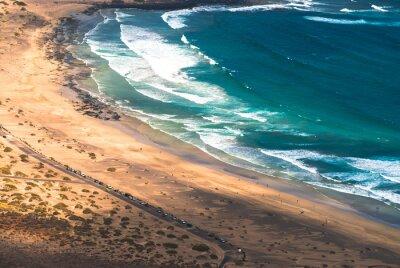 Fototapeta Widok z góry na Famara brzegowej. Lanzarote. Wyspy Kanaryjskie. Hiszpania