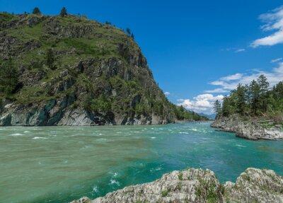 Fototapeta widok z kamieni i skał na górskiej rzeki