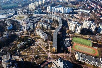 Fototapeta Widok z lotu ptaka centrum miasta Lublina
