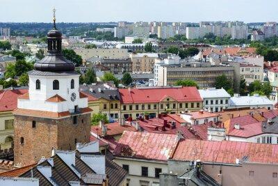 Fototapeta Widok z lotu ptaka starego miasta w Lublinie