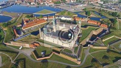 Fototapeta Widok z lotu ptaka starego zamku Kronborg, Dania