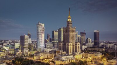 Fototapeta Widok z lotu ptaka Warszawa Śródmieście w srunrise, Polska