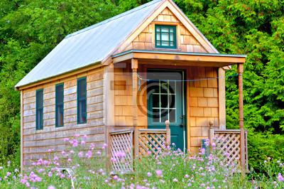 Fototapeta Widok z małym domku na kołach