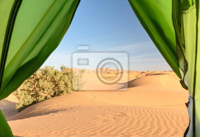Widok z obozu na wydmy. Erg Chebbi wydmy w pobliżu Merzouga, Maroko