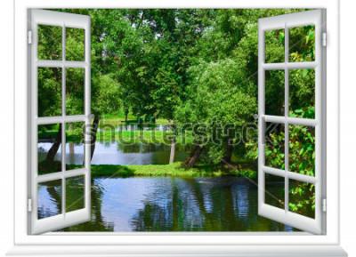 Fototapeta widok z okna na zbiornik wodny i drzewo latem