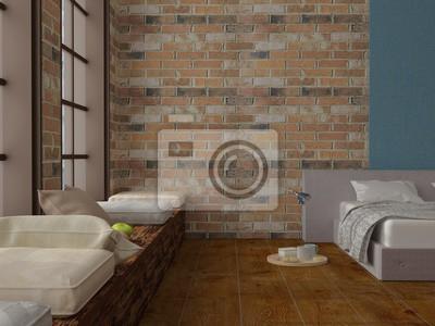 Widok Z Sypialni Na Poddaszu Z Czerwonej Cegły ściany Miękkim Fototapety Redro