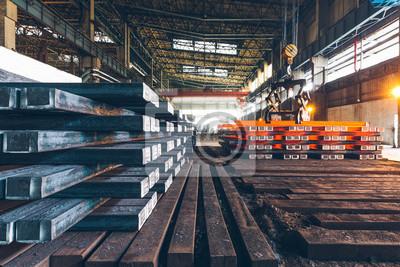 Fototapeta Widok z wnętrza fabryki stali, przemysłu stalowego w mieście Chin.