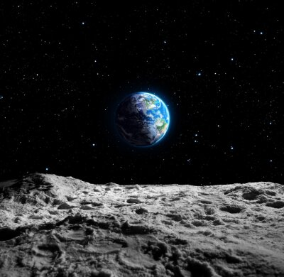 Fototapeta Widoki Ziemi z powierzchni księżyca
