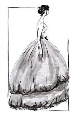 Fototapeta wieczór suknia z szeroką spódnicą w 50-ta lat