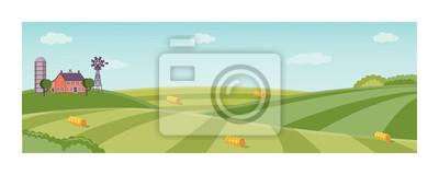 Fototapeta Wiejski krajobraz z rolnym polem z zieloną trawą, drzewa. Użytki rolne z domami, wiatrakami i stosami siana. Plenerowa wioski sceneria, uprawia ziemię tło. Ilustracji wektorowych