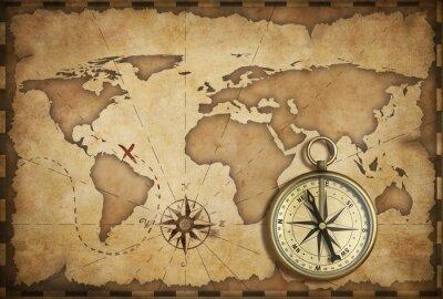 Fototapeta wieku mosiądz antyczny nawigacyjny kompas i starych map z toru na nim