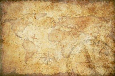Fototapeta wieku treasure map, linijka, liny i stary mosiądz kompas still life