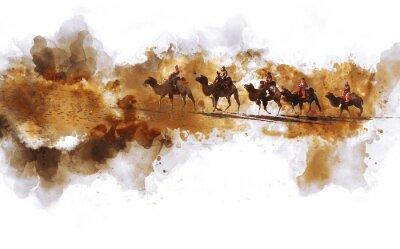 Fototapeta Wielbłądy i ludzi chodzących na Jedwabnym Szlaku i wydmy pustyni, cyfrowe Akwarele ilustracji