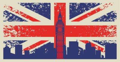 Fototapeta Wielka Brytania flaga i Big Ben w Londynie