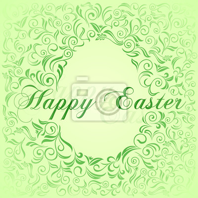 Wielkanoc karta z ornamentem roślinnym
