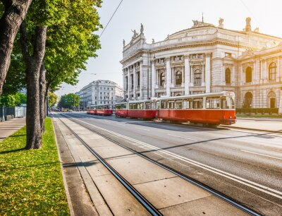 Fototapeta Wiener Ringstrasse z Burgtheater i tramwajem na wschodzie słońca, Wiedeń, Austria