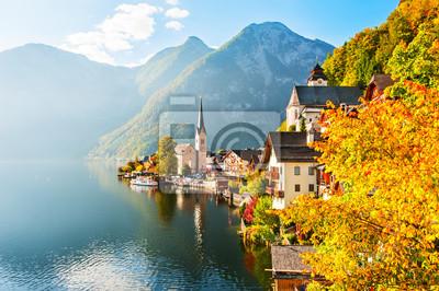 Fototapeta Wieś Hallstatt w austriackich Alpach