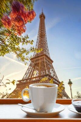 Fototapeta Wieża Eiffla z filiżanką kawy w stylu art, Paryż, Francja