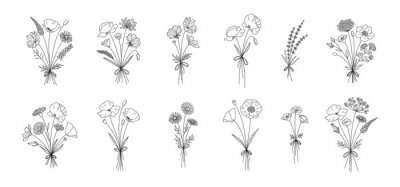 Fototapeta Wildflower line art bouquets set. Hand drawn flowers, meadow herbs, wild plants, botanical elements for design projects. Vector illustration.