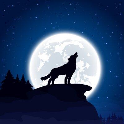Fototapeta Wilk na tle księżyca