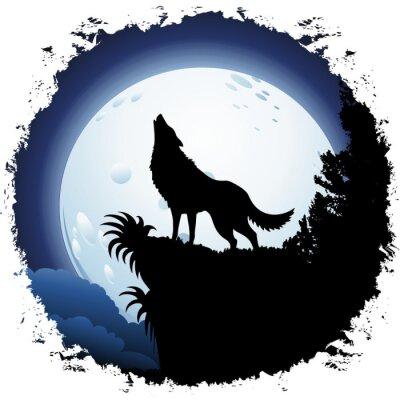 Wilk Wyjący W Blue Moon Na Grunge Ramki Fototapety Redro