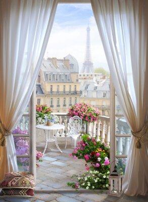 Fototapeta window flower paris france design