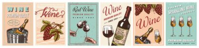 Fototapeta Wine posters or vineyard banners. Sparkling champagne background, Cheers toast and Grape. Hand Drawn engraved vintage old sketch for bar, alcohol label, restaurant menu.