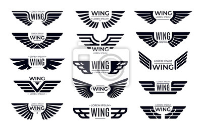 Fototapeta Wings badges. Flying emblem, eagle bird wing and winged frame. Aviation pilot patch badge, army insignia emblem or biker logotype sticker. Isolated vector icons set