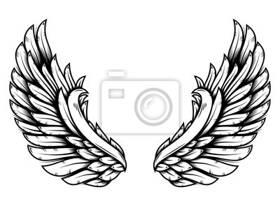 Fototapeta Wings in tattoo style isolated on white background. Design element for poster, t shit, card, emblem, sign, badge.