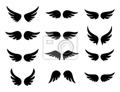 Fototapeta Wings logo set. Vector