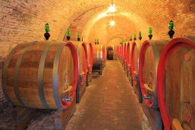 Fototapeta Winiarnia, beczki - baryłki, sklepienia ceglane, Toskania, Włochy