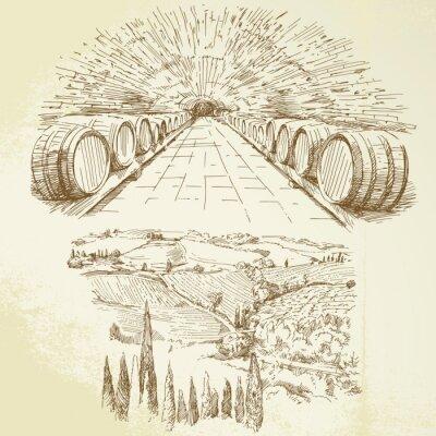 Fototapeta winnica - ręcznie rysowane zestaw