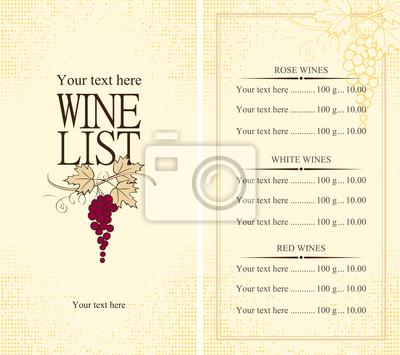 Wino z winogron winorośli Menu