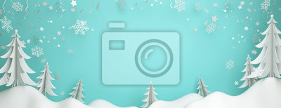 Fototapeta Winter abstract background design creative concept, snow icon, pine, spruce, fir tree art paper cut origami with blue pastel sky. Copy space text area. 3D rendering illustration.